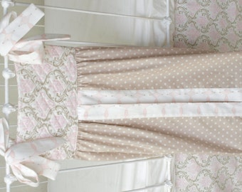 Pink and Taupe Damask Large Diaper Stacker with Monogram (Optional)