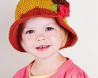 INSTANT DOWNLOAD Crochet Flowery hat for girls and womans Pattern - 5 sizes from baby to adult