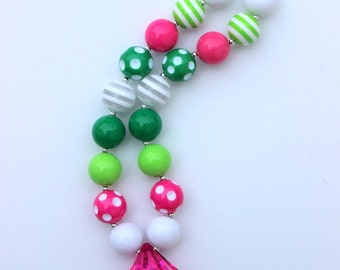 St Patricks Day chunky bead necklace pink green chunky bead necklace chunky bubblegum necklace bubble gum necklace photo prop