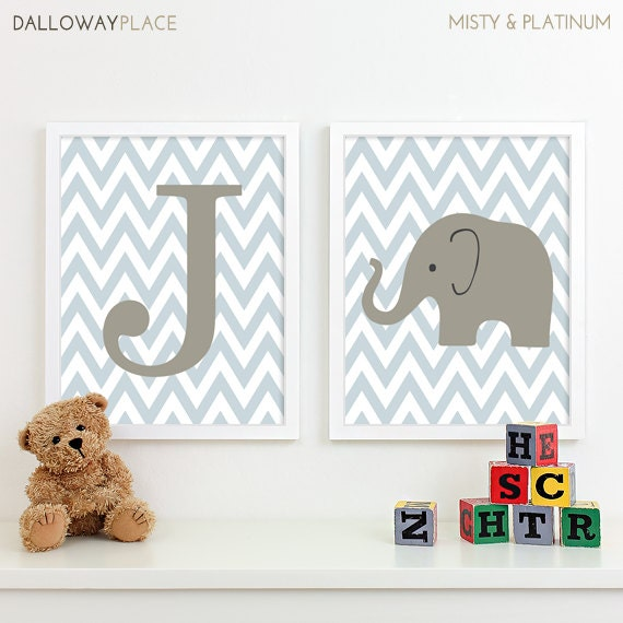 Popular Items For Nursery Decor On Etsy Baby Shower: Items Similar To Safari Chevron Initial Nursery Prints