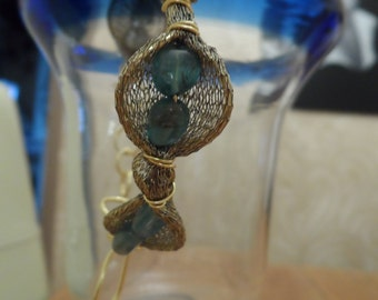 Gold Wire Mesh Adjustable Bracelet With Genuine Blue Agate And Apatite Gemstones