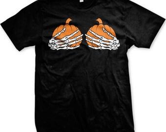 Pumpkin Boobs Men's T-shirt, Halloween Costume Shirt, Cheap Halloween T-shirt, Happy Halloween Shirt, Happy Halloween TShirt - GH_01105