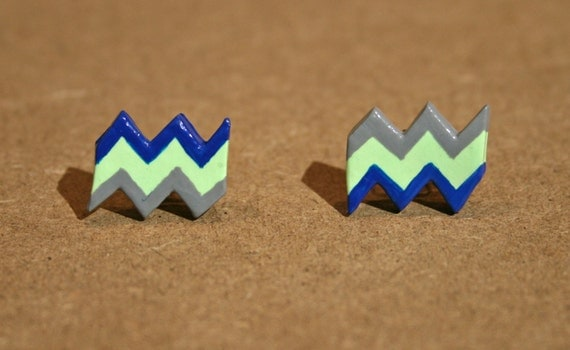 Chevron Post Earrings - Green, Blue and Gray - Neon Green - Zig Zag Polymer Clay