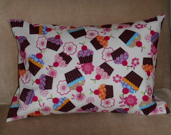 Travel Pillow Case / Child Pillow Case CUPCAKES Make People Happy!!