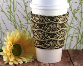 CLEARANCE / Fabric Coffee Cozy / Cream and Black Waves of Fire Coffee Cozy / Coffee Cozy / Tea Cozy
