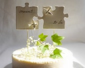 Puzzle Piece Wedding Cake Topper for Love Birds,  Bridal Topper/ White Wedding Topper, Handmade Etsy Weddings/ Decorations