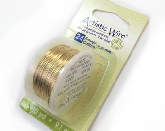 Gold Brass Artistic Wire, 24 Gauge Gold Wire, 10 Yard Spool, Non-Tarnish Gold Wire for Wire Wrapping Jewelry, Item 113wr