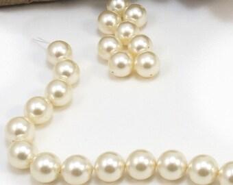Swarovski Pearls, 10 Cream Swarovski Crystal Beads, 10mm Round Cream Crystal Pearls, Item 215p