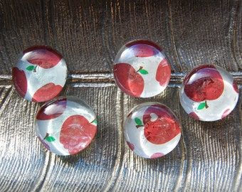 Apple Glass Magnets - Set of 5