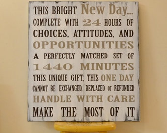 Hand Painted Wooden Sign - This Bright New Day Quote