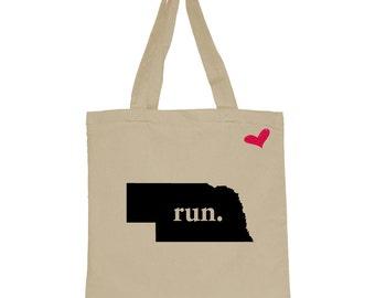 RUN Nebraska Canvas Tote Bag