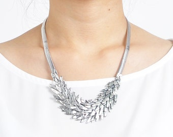 Silver statement necklace, silver feather necklace
