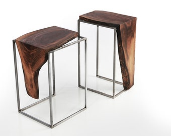 Set of 2 Side Tables - Solid Black Walnut, Live Edge Top with Metal base