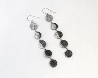 Moon Phase dangle earrings- Sterling Silver