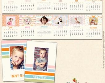 "INSTANT DOWNLOAD 2014 2.5 x 3.5 "" Mini Accordion Book Photo Calendar Template 2016"