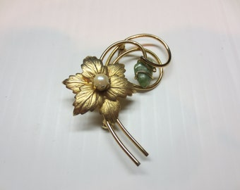 Vintage Brooch By Emmons With Possible Jade Stone