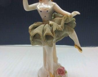 Antique Vintage Porcelain Bone China with lace Figurine Ballerina girl Japan