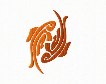 PISCES ~ Zodiac ~ Machine Embroidery Design in 2 sizes - Fishy Fishy - Instant Download