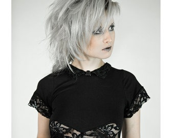 Shadow Doll Mini Dress, Lace Cutouts and Peter Pan Collar, Comfy Cotton Lycra Jersey - MADE TO ORDER
