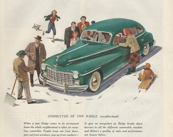 Dodge Automobile Original 1948 Vintage Print Ad w/ Color Illustration of Green Car Surrounded by Neighbors in Winter Scene