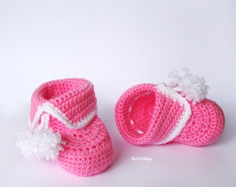 Crochet baby booties, baby girl booties, shoes in pink and white