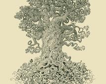 Gnarled Tree Art - 11x14 Detailed Fine Art Print - Twisting Wood Wall Art - Women's Gift - Forest Print
