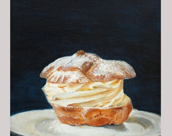 "FREE SHIPPING Cream Puff  7,87""x7,87"",  original  Still Life painting"