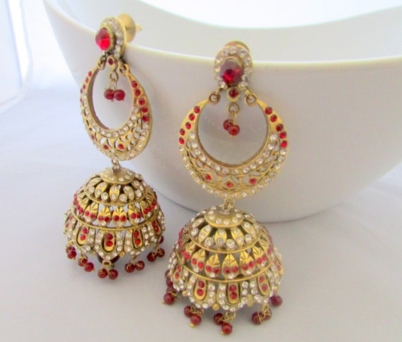 Red Chandelier India: Victorian Red Jhumka Indian Chandelier Dangle By
