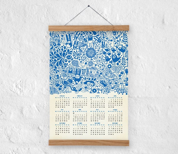 Items similar to wall calendar 2014 a3 size 100 recycled paper eco friendly home decor on etsy Home decor wall calendar