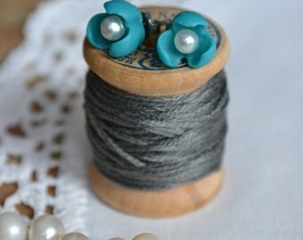 SALE - Teal Flower with Pearl Centre Earrings on Hypoallergenic Titanium Posts