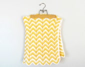 yellow and white zigzag afghan baby blanket