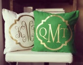 Monogram Throw Pillow Cover - Kelly Green Metallic Gold or Silver Monogram