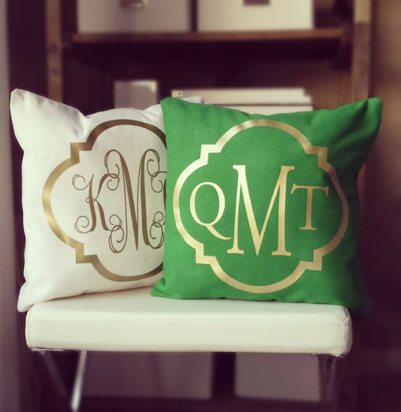 Monogram Throw Pillow Etsy : Monogram Throw Pillow Cover Kelly Green by idreamingoldshop