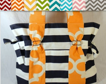 Large Chevron Diaper bag purse school bag in choice of fabric and lining- bottle pockets and slip pockets.  you customize