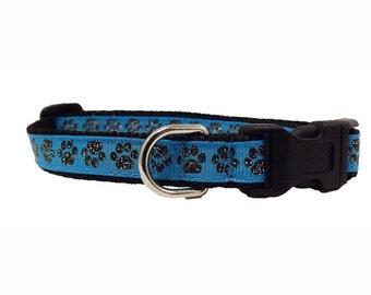 "Glitter Paw - Blue 1/2"" Mini Dog Collar  