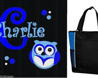 PERSONALIZED Boys Owl Tote Bag diaper baby beach   New FREE SHIPPING