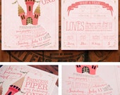Pink and Gold Princess Birthday Party Invitations - Printable Party Invitation - Piper