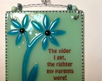 Fused Glass Inspirational Plaque with beaded detail