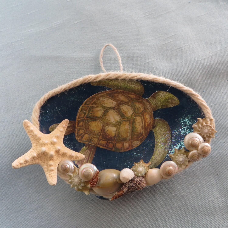 Sea turtle ornament_sea shell ornament_beach decor_beach Sea Turtle Shell