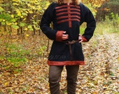 Early Medieval  tunic with hems and bronze buttons, Viking tunic, Historical Pattern , for Viking Reenactors, Viking Costume