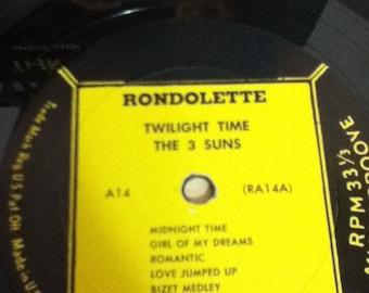 RaRe Yellow Label The THREE SUNS Twilight Time Vintage Vinyl 33 LP Record Album Rondo Gold Rondolette Long Play A 14