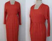 Vintage 70s Dress / Henry Lee Lipstick Red Hollywood Regency Grecian Disco Empire Maxi Hostess Gown ggmm