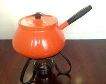 retro orange fondu pot; yesteryears mid century mod vintage; cooking repurposed planter; home decor