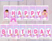 Doc McStuffins inspired PRINTABLE Happy Birthday banner bunting digital file instant download stuffin