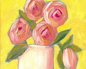 Acrylic Still Life Painting - Fine Art PRINT - Oh Happy Day - Whimsical Roses by Lana Manis