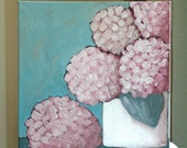 In the Pink - cottage chic hydrangeas - Original Art - Acrylic Painting by Lana Manis - Mother's Day