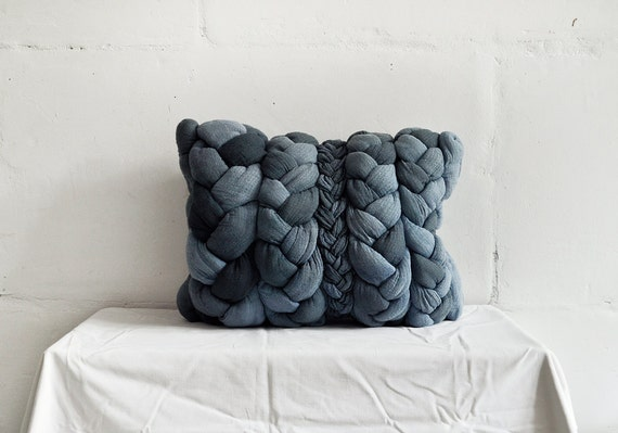 "Dark denim ""plait"" pillowcase - dyed, decorative, handmade cushions."