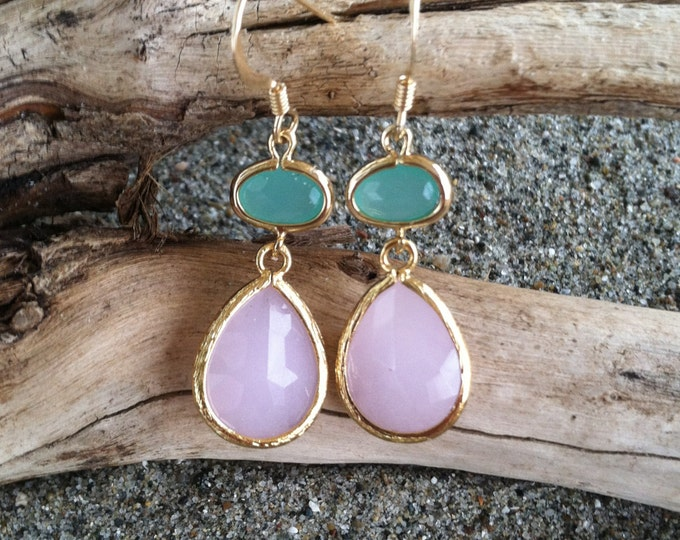 Bezel Set, Drop Earring, Pink and Green Stone, Gold Fill Ear Wire