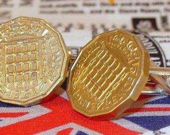 Boxed Pair Vintage British 1961 Threepence 3d Coin Cufflinks Wedding 56th Birthday