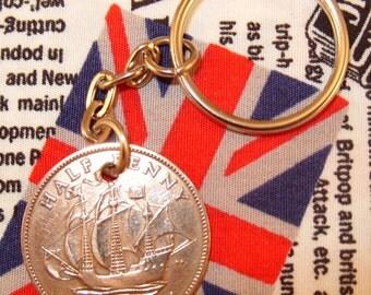 1940 Ha'penny Old Half Penny English Coin Keyring Key Chain Fob King George VI
